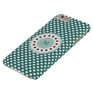 Cute trendy girly chic ladybugs monogram barely there iPhone 6 plus case