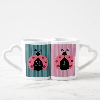 Cute trendy girly chic ladybugs monogram coffee mug set