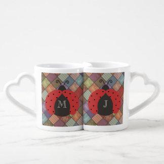 Cute trendy girly chic ladybugs monogram patchwork coffee mug set