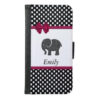 Cute trendy girly elephant polka dots monogram samsung galaxy s6 wallet case