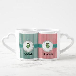 Cute Trendy  girly  fun cartoon owl personalized Coffee Mug Set