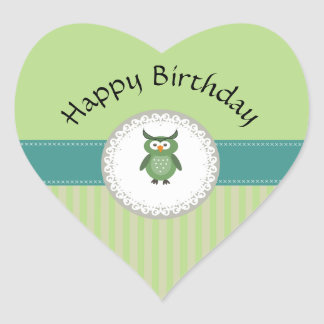 Cute Trendy  girly  fun cartoon owl personalized Heart Sticker