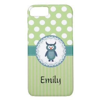 Cute Trendy  girly  fun cartoon owl personalized iPhone 8/7 Case