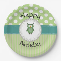 Cute Trendy  girly  fun cartoon owl personalized Paper Plate