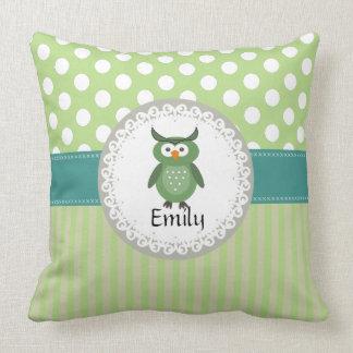Cute Trendy  girly  fun cartoon owl personalized Pillow