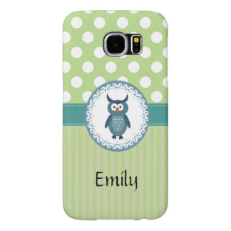 Cute Trendy  girly  fun cartoon owl personalized Samsung Galaxy S6 Case