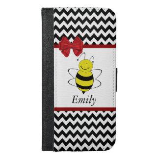 Cute trendy girly funny bee chevron monogram iPhone 6/6s plus wallet case