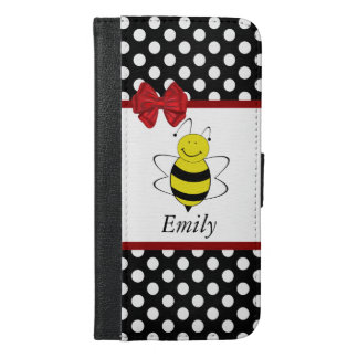 Cute trendy girly funny bee polka dots monogram iPhone 6/6s plus wallet case