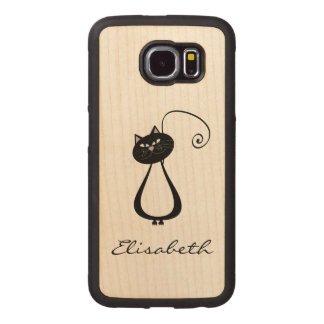 Cute trendy girly funny cartoon cat personalized wood phone case