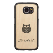Cute trendy girly funny cartoon owl personalized wood phone case