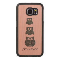 Cute trendy girly funny cartoon owls personalized wood phone case