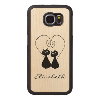 Cute trendy girly funny cat couple  personalized wood phone case