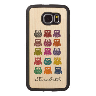 Cute trendy girly funny colorful owls personalized wood phone case