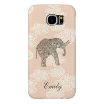 Cute trendy girly lace elephant personalized samsung galaxy s6 case
