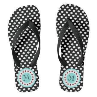 Cute trendy girly ladybug monogram polka dots flip flops