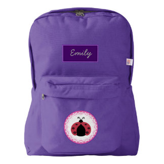 Cute trendy girly ladybug personalized backpack