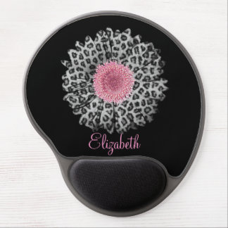 Cute trendy Girly leopard animal print gerbera Gel Mouse Pad