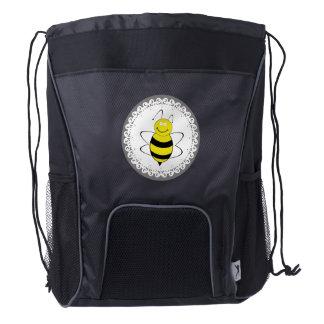 Cute trendy girly modern funny cartoon bee drawstring backpack