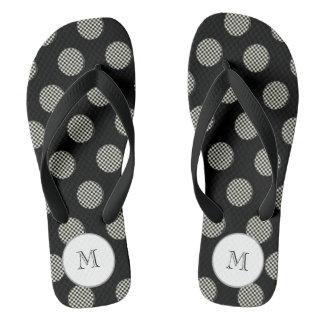 Cute trendy girly monogram pepito polka dots flip flops