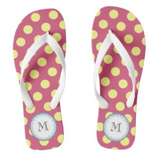 Cute trendy girly monogram yellow polka dots flip flops