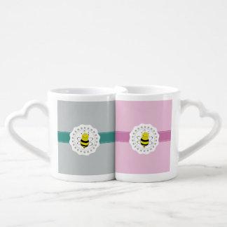 Cute trendy girly pattern bee couples coffee mug
