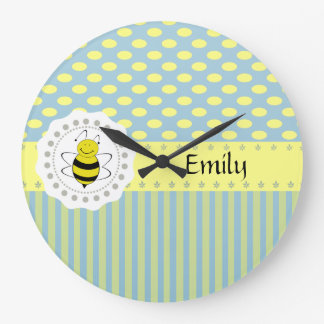 Cute trendy girly pattern bee large clock
