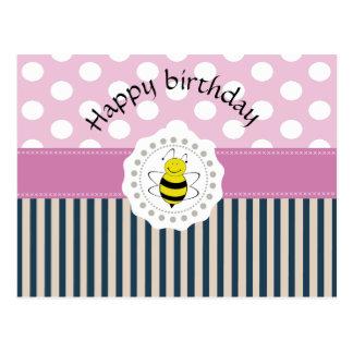 Cute trendy girly pattern bee postcard