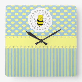 Cute trendy girly pattern bee square wall clock