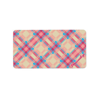 Cute trendy girly plaid pattern fabric effects personalized address label