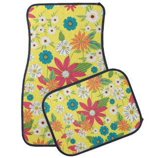Cute trendy girly soft colours floral pattern car floor mat