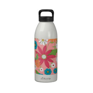 Cute trendy girly soft colours floral pattern reusable water bottle
