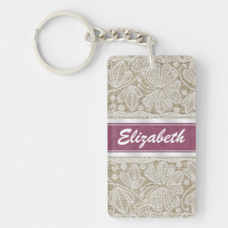 Cute trendy girly vintage monogram white lace keychain