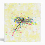 Cute trendy girly watercolor splatters dragonfly binder