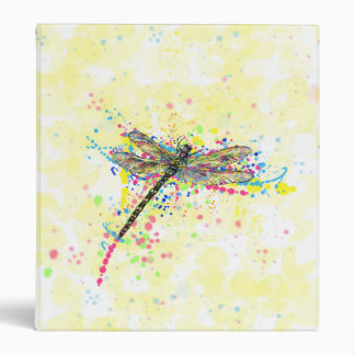 Cute trendy girly watercolor splatters dragonfly binder