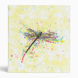 Cute trendy girly watercolor splatters dragonfly 3 ring binders