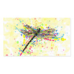 Cute trendy girly watercolor splatters dragonfly business card template