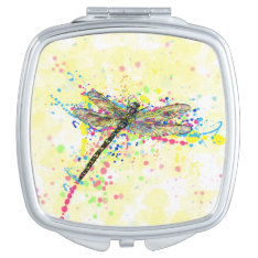 Cute Trendy Girly Watercolor Splatters Dragonfly Compact Mirror at Zazzle