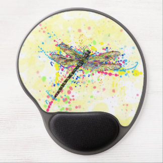 Cute trendy girly watercolor splatters dragonfly gel mouse pad