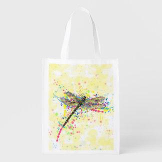 Cute trendy girly watercolor splatters dragonfly grocery bag