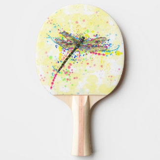 Cute trendy girly watercolor splatters dragonfly Ping-Pong paddle