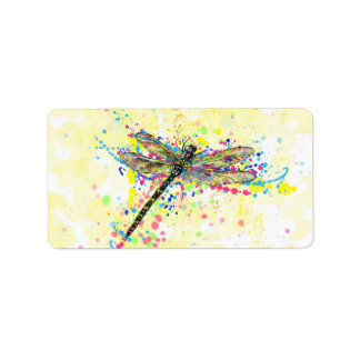 Cute trendy girly watercolor splatters dragonfly label
