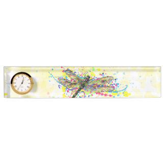Cute trendy girly watercolor splatters dragonfly desk nameplates
