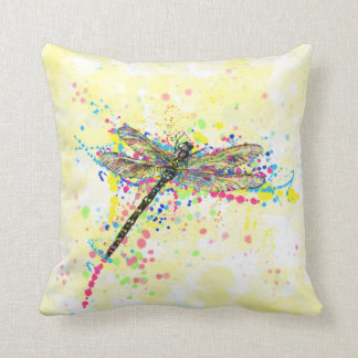 Cute trendy girly watercolor splatters dragonfly throw pillow