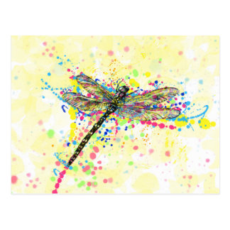 Cute trendy girly watercolor splatters dragonfly postcard