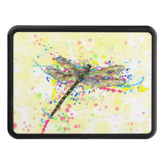 Cute trendy girly watercolor splatters dragonfly trailer hitch cover