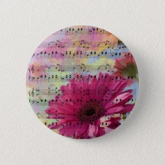 Cute trendy girly watercolours Gerbera flowers Button