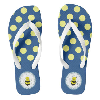 Cute trendy girly yellow polka dots bees flip flops