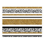 Cute trendy  gold faux glitter leopard stripes postcard