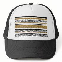Cute trendy  gold faux glitter leopard stripes trucker hat