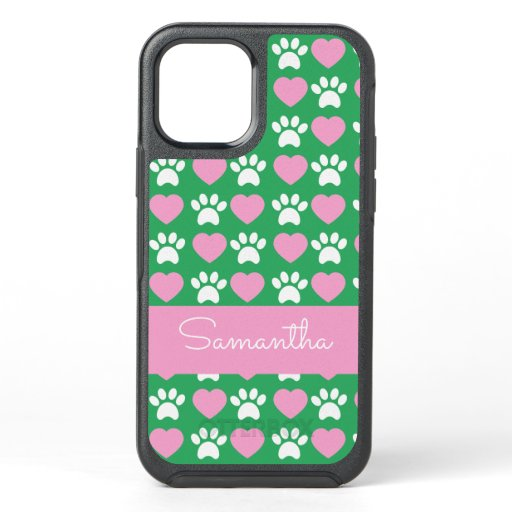 Cute Trendy Hearts and Paws Green OtterBox iPhone